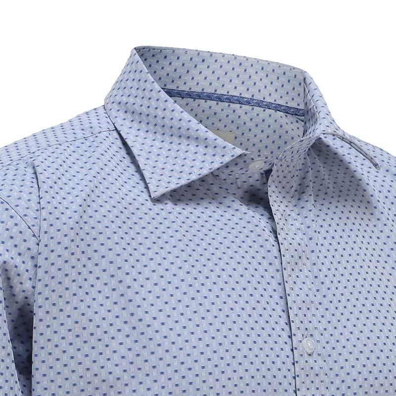 Heren overhemd met semi spreat boord met blauwe trim