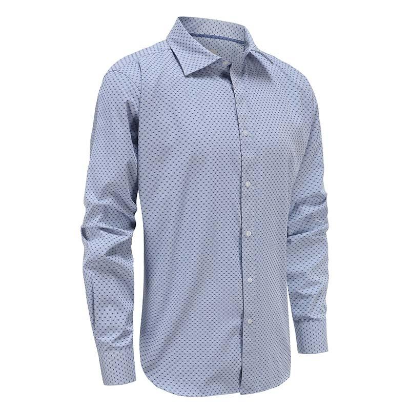 Overhemd heren Blauw geblokt lange mouw