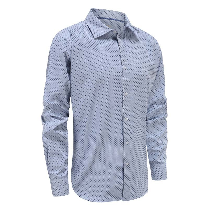 Blue checkered long sleeve shirt men