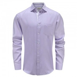 Overhemd heren paars wit met borstzak Ollies Fashion