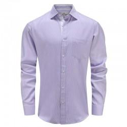 Shirt herren lila weiß mit brusttasche Ollies Fashion