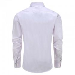 Chemise hommes blanc avec une touche de rayures lilas down dobby Ollies Fashion