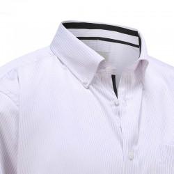 Chemise homme blanche avec bande lilas et bordure noire Ollies Fashion