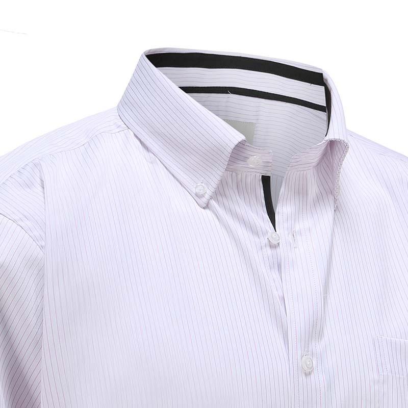 Overhemd heren wit met lila streep en zwarte trim Ollies Fashion