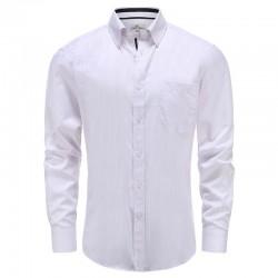 Chemise homme blanc avec bande lilas avec poche poitrine Ollies Fashion