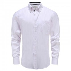 Shirt men white with lilac stripe with chest pocket Ollies Fashion