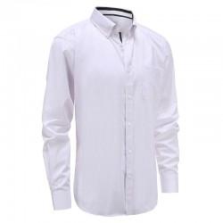 Weißes herrenhemd mit lila streifen tailliert geschnitten Ollies Fashion