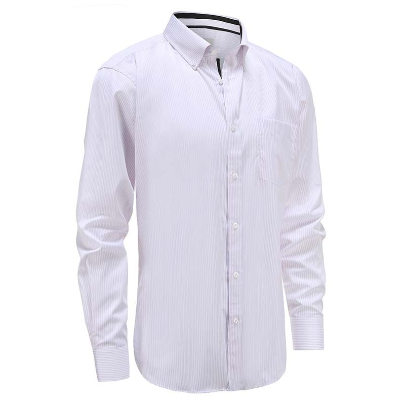Men's white shirt with lilac stripe tailored fit Ollies Fashion
