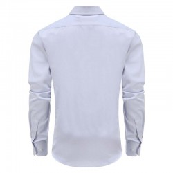 Overhemd heren lila met semi spread boord