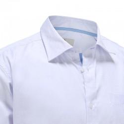 Bambus Shirt der Männer wissen Popeline Streifen und blaue Streifen im Kragen