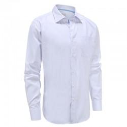Bambou shirt des hommes blanc bande popeline et bande bleue dans le col