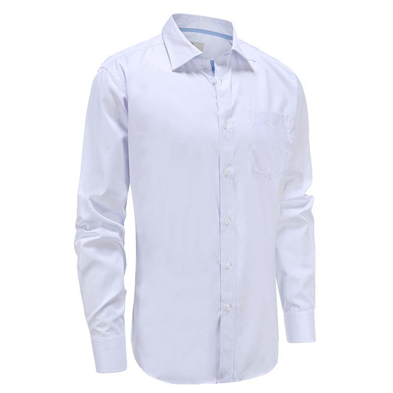 Bamboo shirt mens white poplin stripe and blue stripe in collar