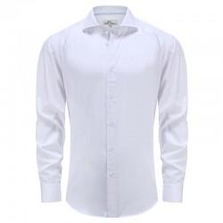 Le bleu des hommes de bambou chemise avec bande blanche dans le brassard ludique Ollies Fashion
