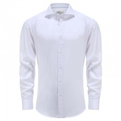 Overhemd bamboe heren wit blauw met speelse streep in manchet Ollies Fashion