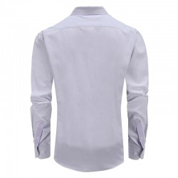 Men purple shirt tailor fit round him