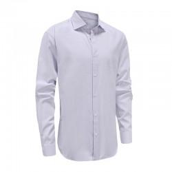 Shirt herren lila mit doppeltem besatz im kragen und halb verteiltem saum Ollies Fashion