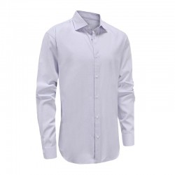Shirt men purple with double trim in collar and semi spread hem Ollies Fashion