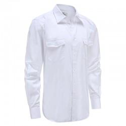 Shirt lin bambou hommes blanc avec poche