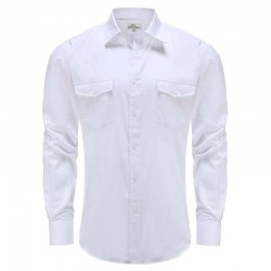 Bamboo verhemd men linen look white, modern fit