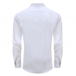 Overhemd bamboe heren wit, ronde hem