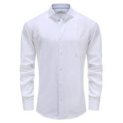 Chemise homme blanc bambou, col bleu