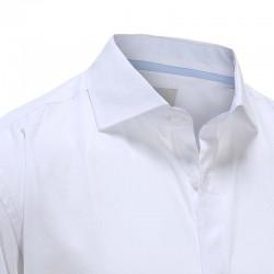 Overhemd heren bamboe wit met blauwe trim Ollies Fashion