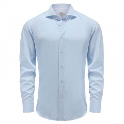Shirt men's bamboo blue with angle cut cuff