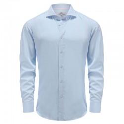 Chemise homme en bambou bleu avec manchette coupe en angle