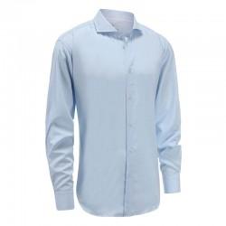 Shirt Bambus Herren hellblau Manschette breit ange