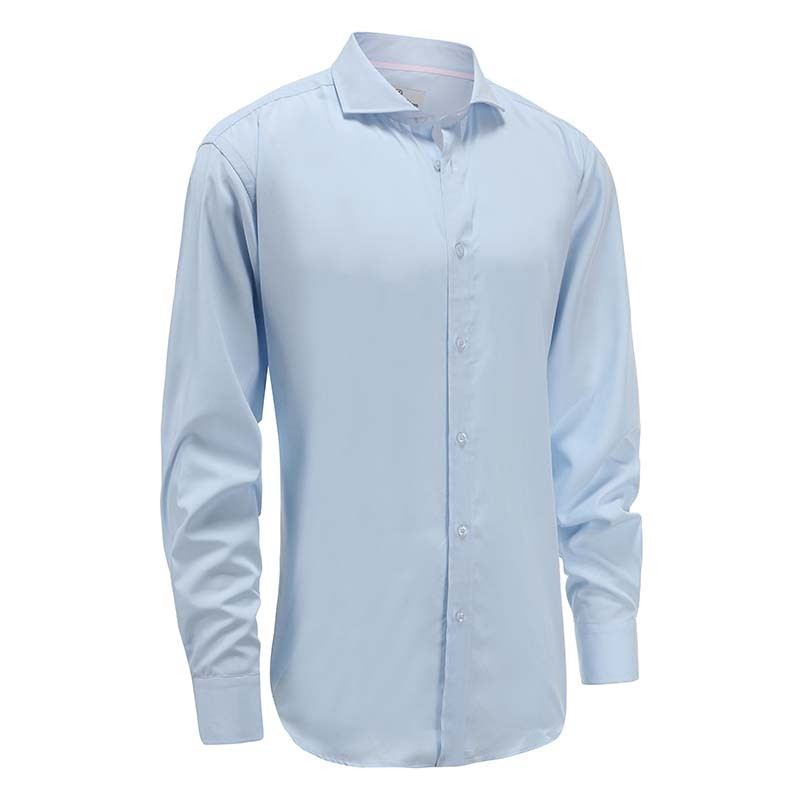 Shirt bamboo men's light blue cuff wide ange