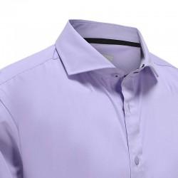 Chemise homme bambou violet avec passepoil noir