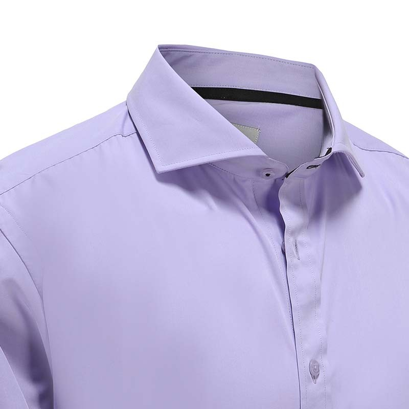 Shirt men's bamboo purple with black piping