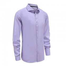 Chemise en bambou violet avec bordure noire dans l'ourlet