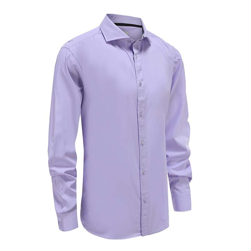 Shirt bamboo purple with black trim in the collar