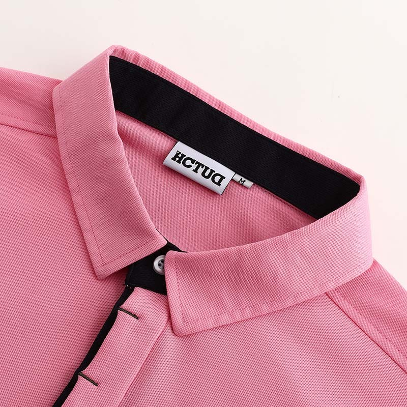 Men's polo shirt pink from HCTUD with black double collar color.