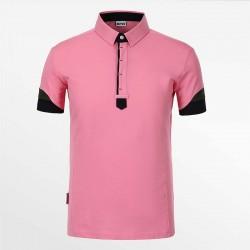 Polo shirt heren van HCTUD roze met zwart en groen met EU Ecolabel.