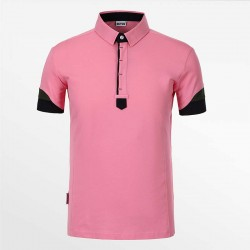 Polo shirt men from HCTUD pink with black and green with EU Ecolabel.
