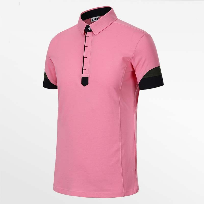 Heren poloshirt roze van HCTUD van Micro-modal pique.
