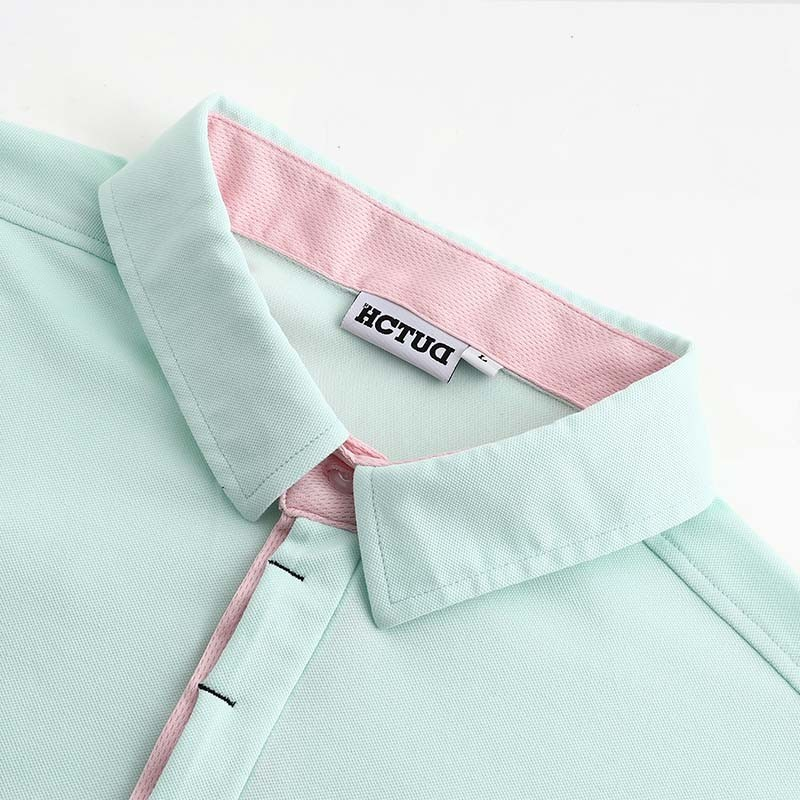Men's polo shirt green from HCTUD with black double collar color.